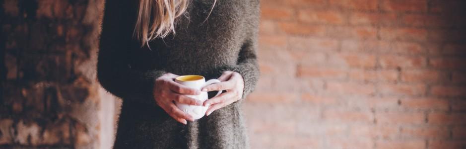 girl comfy coffee
